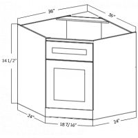 CORNER SINK BASE 1 DOOR 1 DUMMY DRAWER 1 SHELF