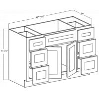 VANITY DRAWER CABINET - TWO DOORS -  SIX DRAWERS -  ONE DUMMY