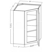 WALL DIAGONAL CORNER CABINET 1 DOOR 2 SHELF