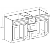 VANITY CABINET - FOUR DOORS -  THREE DRAWERS -  TWO TIP OUTS